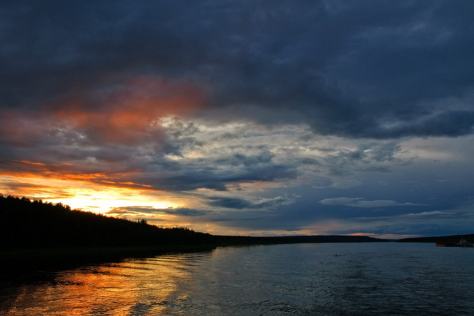 The Yenisei River - Beautiful sunset