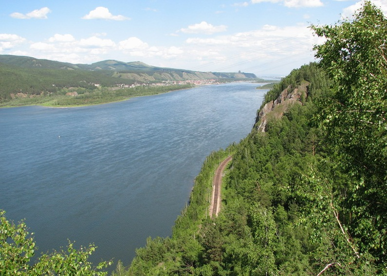 The Yenisei River - Cliffs along the river