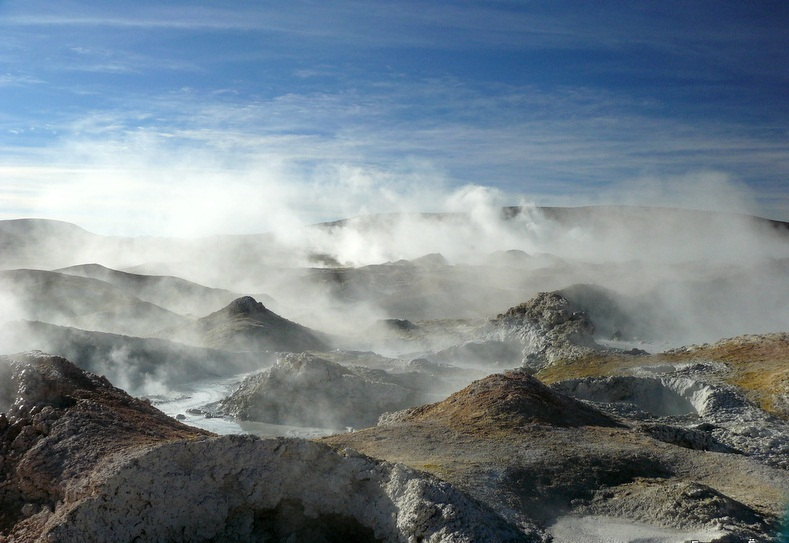 Sol de Manana Geyser, Bolivia - Steam clouds