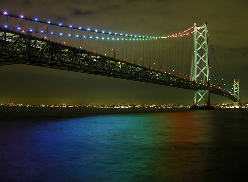 Akashi Kaikyo Bridge - Akashi Bridge at night