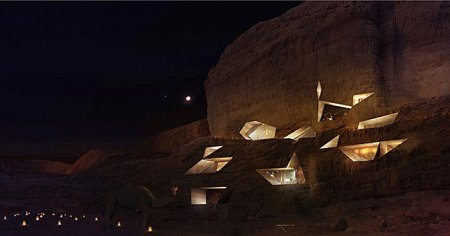 Wadi Rum Desert Lodge, Jordan - Hotel at night