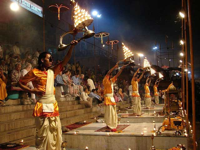 Varanasi -  The City of Life and Death - Brahmin performs arati