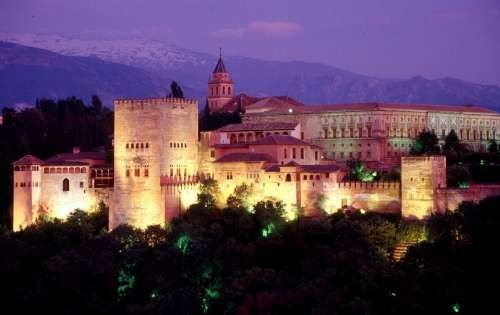 Spain - Alhambra at night, Granada