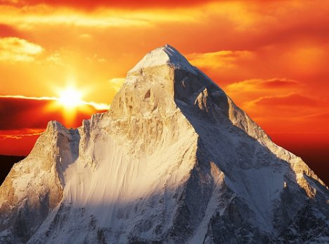 Mount Shivling, Himalaya Mountains in India - Beautiful sunset over Shivling Mountains