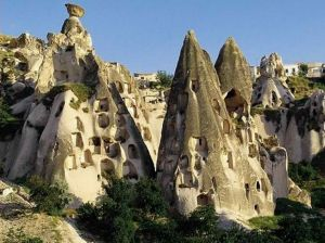 Fairy chimney houses in Cappadocia, Turkey